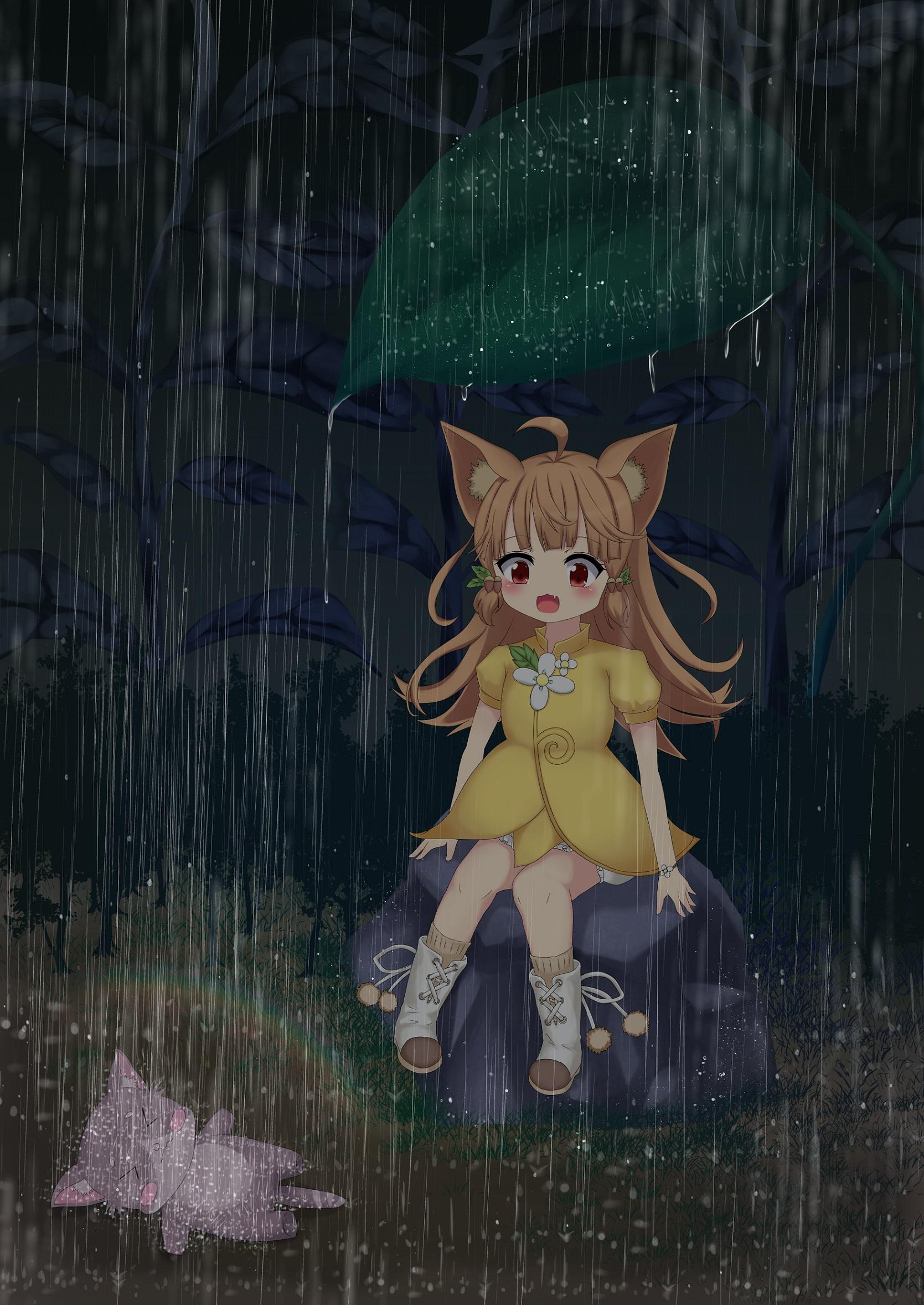 雨で、はしゃぐアル